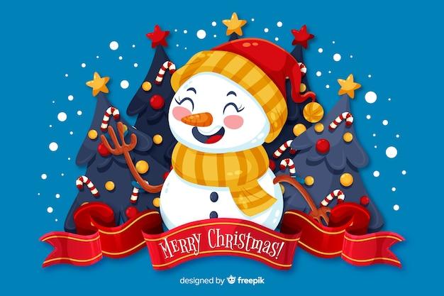 Platte kerst achtergrond en sneeuwpop met hoed Gratis Vector