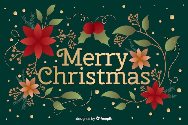 Platte kerst achtergrond met groet Gratis Vector