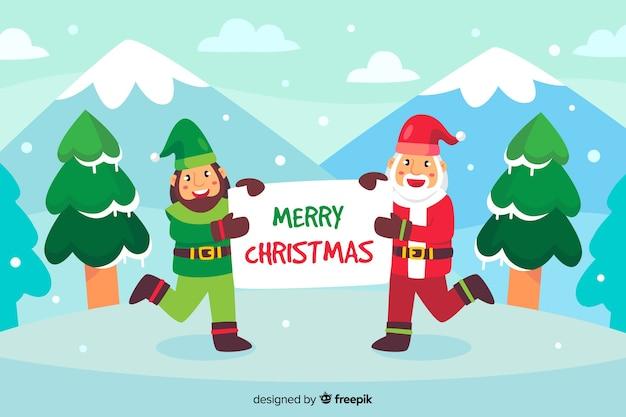 Platte kerst achtergrond met kerstman en elf Gratis Vector