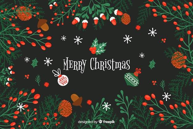 Platte kerst achtergrond met mooie deocoration Gratis Vector