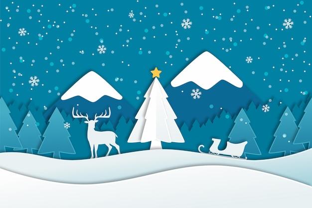 Platte kerst achtergrond Gratis Vector