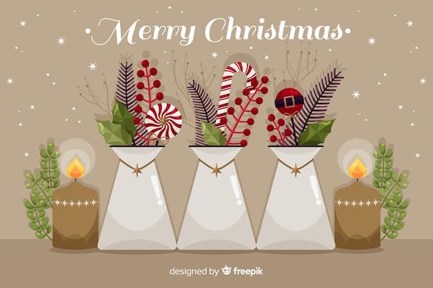 Platte kerst achtergrondviering Gratis Vector