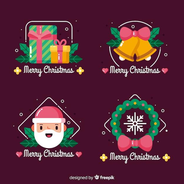 Platte kerst badge collectie Gratis Vector