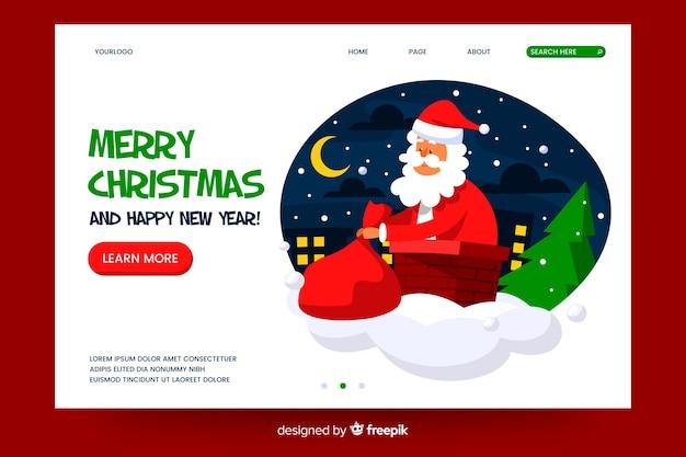 Platte kerst bestemmingspagina met de kerstman Gratis Vector