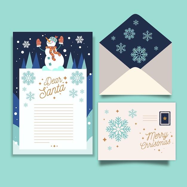Platte kerst briefpapier sjabloon Gratis Vector
