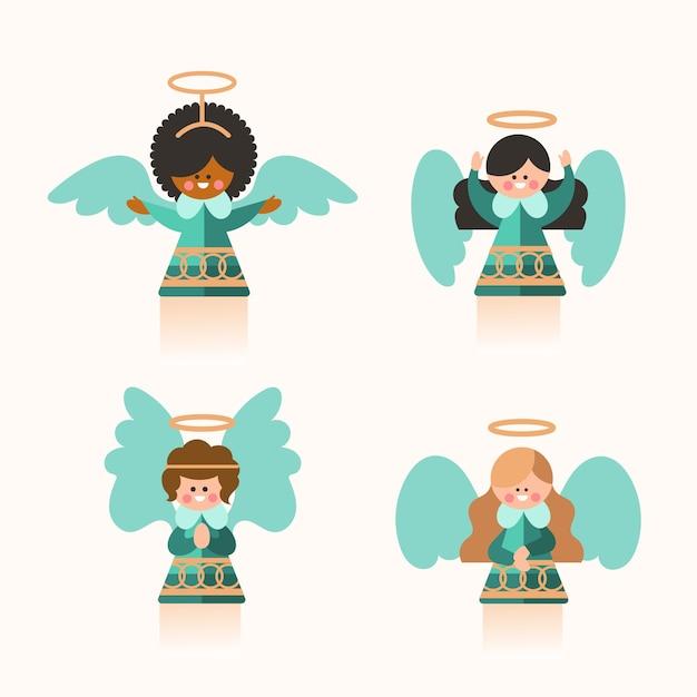 Platte kerst engel collectie Gratis Vector