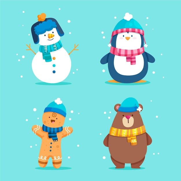 Platte kerst karakters collectie Gratis Vector