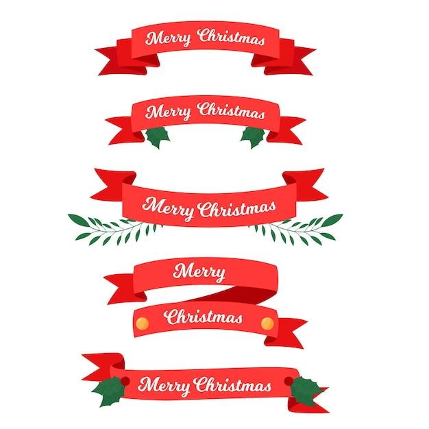 Platte kerst lint collectie Gratis Vector