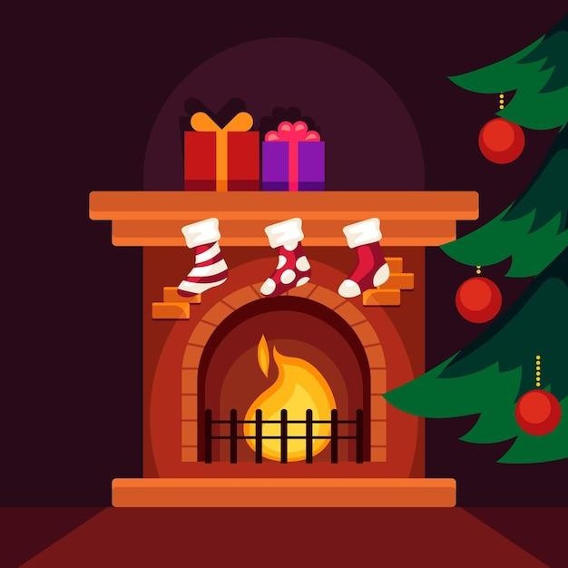 Platte kerst open haard scène Gratis Vector