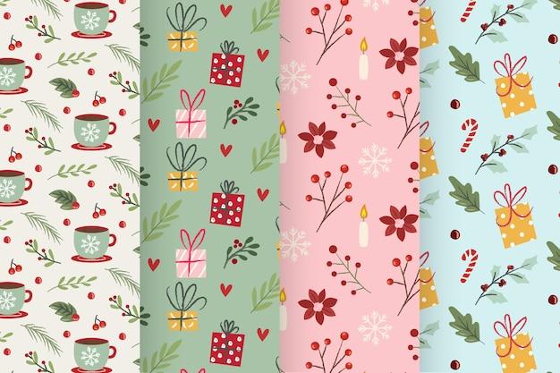 Platte kerst patroon collectie Gratis Vector