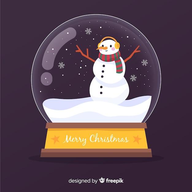 Platte kerst sneeuwbal globe Gratis Vector