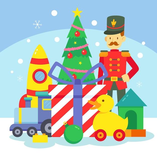 Platte kerst speelgoed achtergrond Premium Vector