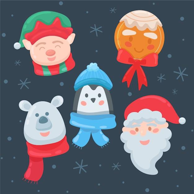 Platte kerst tekensverzameling Gratis Vector