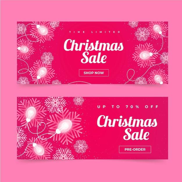 Platte kerst verkoop banners Gratis Vector