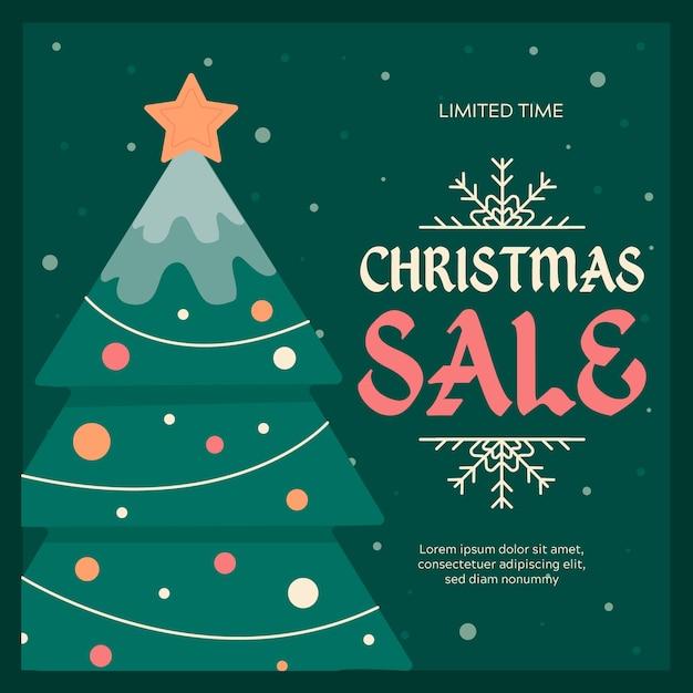 Platte kerst verkoop en boom met lichtslingers Gratis Vector