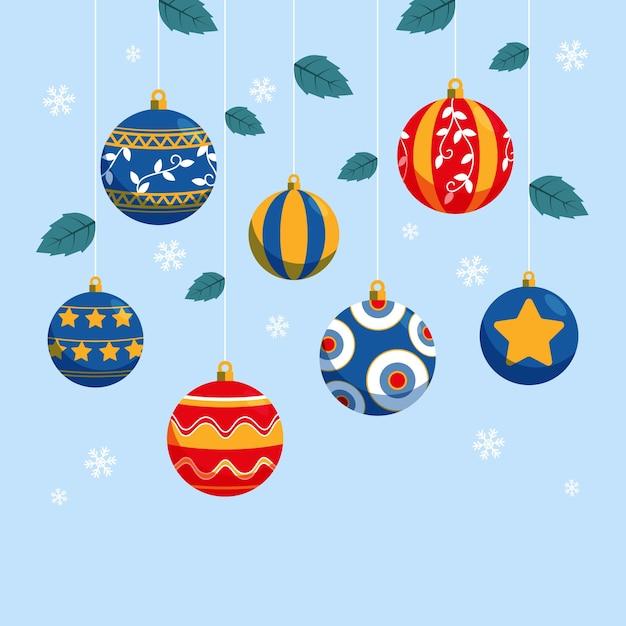 Platte kerstballen collectie Gratis Vector