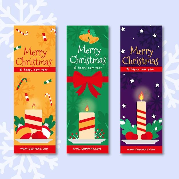Platte kerstbanners met kaarsen Gratis Vector