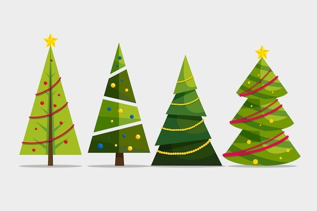 Platte kerstboom collectie Gratis Vector