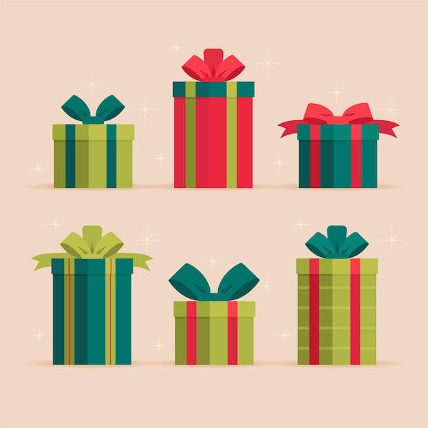 Platte kerstcadeau collectie Gratis Vector