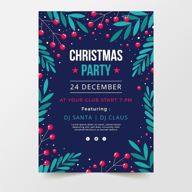 Platte kerstfeest poster sjabloon Premium Vector