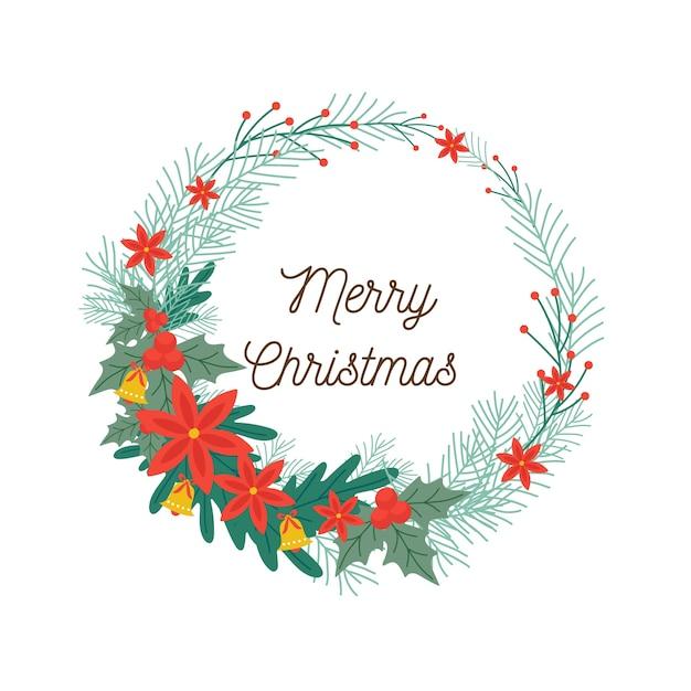 Platte kerstkrans en vrolijke kerstgroeten tekst Gratis Vector