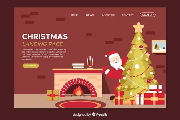 Platte kerstlandingspagina met open haard Gratis Vector