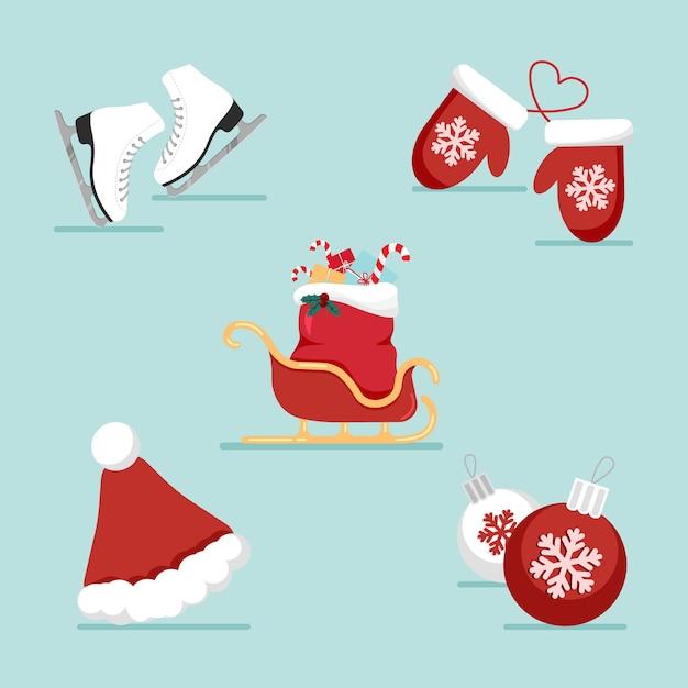 Platte kerstmis en nieuwjaar pictogrammen instellen met vakantieartikelen. kerstmuts en slee, schaatsen, wanten. Premium Vector
