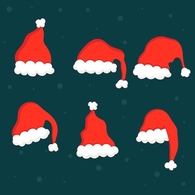 Platte kerstmuts collectie Gratis Vector