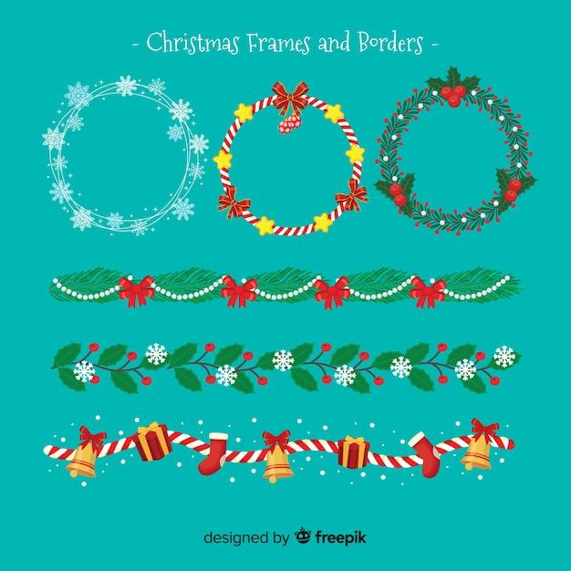 Platte kerstpakketten en borders pack Gratis Vector