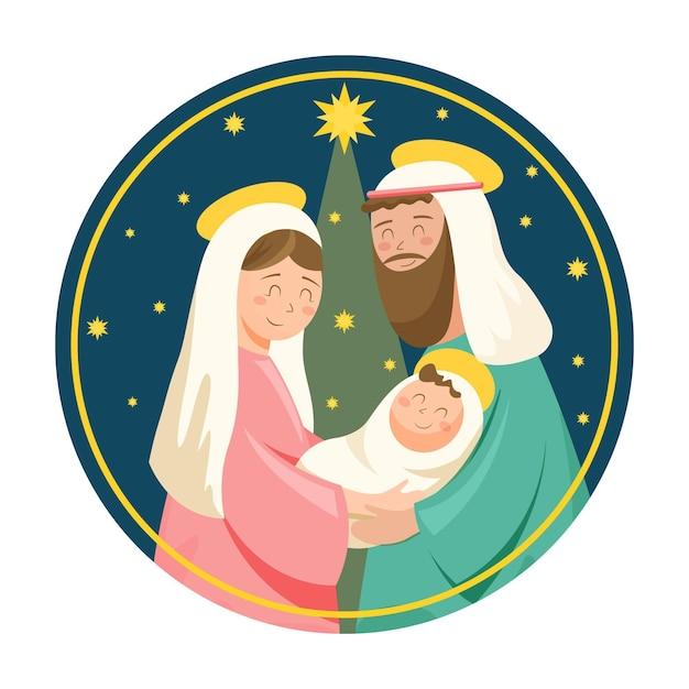 Platte kerststal illustratie Gratis Vector