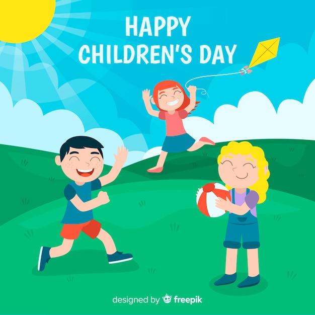 Platte kinderdag achtergrond met gelukkige kinderen Gratis Vector