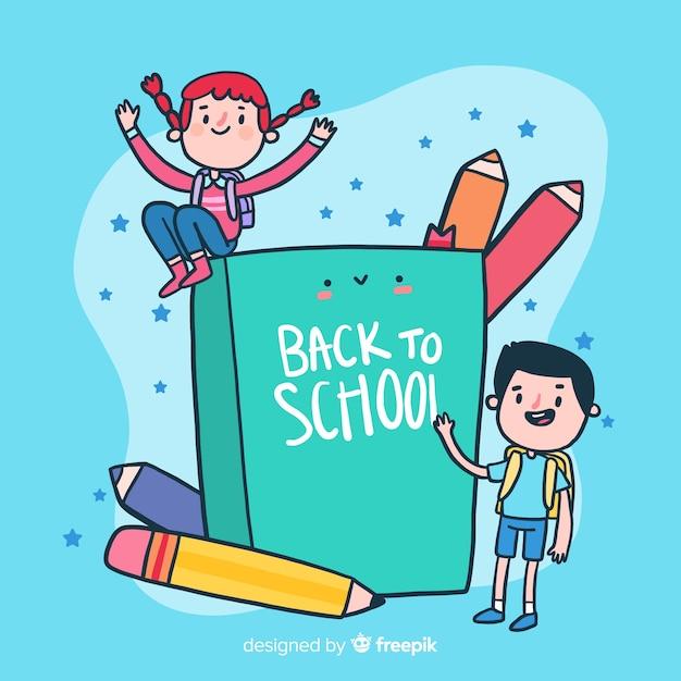Platte kinderen terug naar school achtergrond Gratis Vector