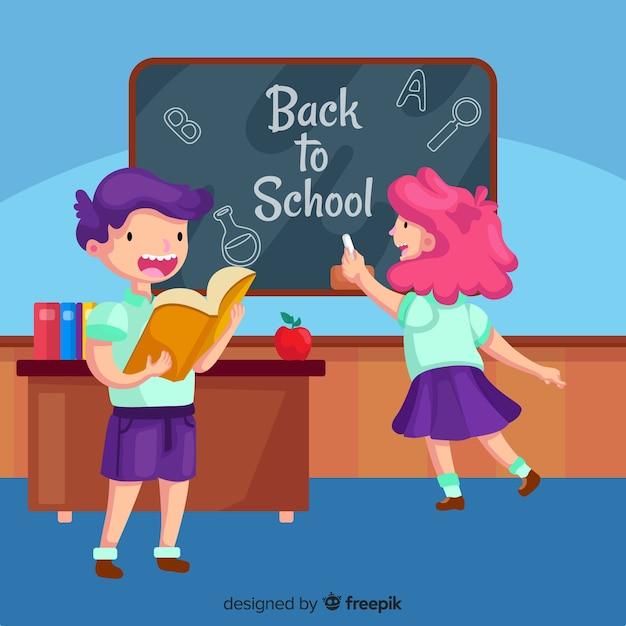 Platte kinderen terug naar schoolcollectie Gratis Vector