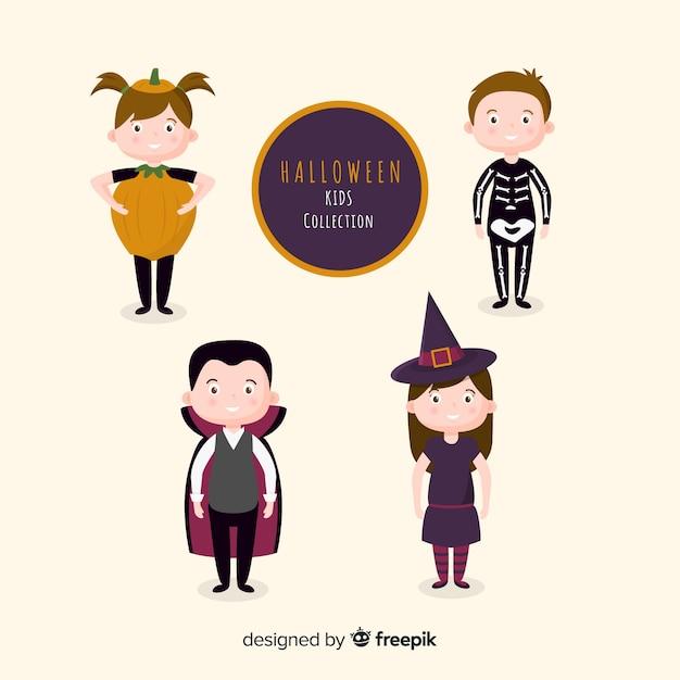 Platte kinderkostuums voor halloween Gratis Vector
