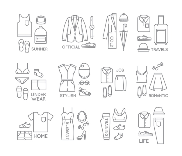 Platte kleding compleert pictogrammen Premium Vector