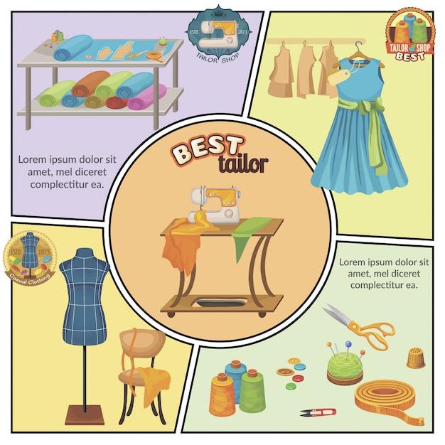 Platte kleermakerij kleurrijke compositie met jurk naaimachine schaar meetlint vingerhoed draad spoelen dummy stof knopen Gratis Vector