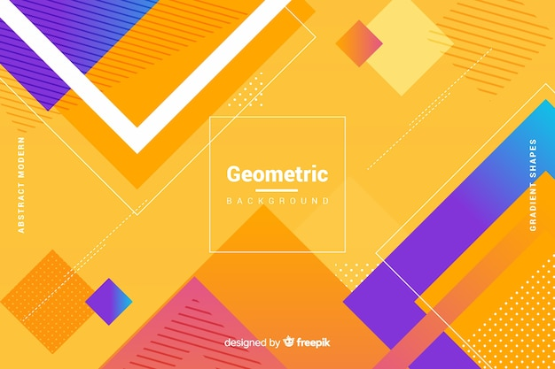 Platte kleurovergang geometrische vormen achtergrond Gratis Vector