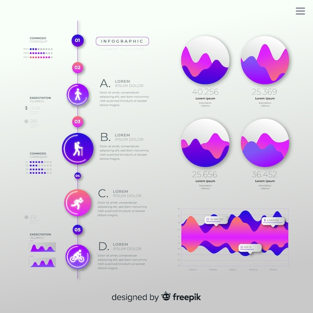 Platte kleurovergang infographic met statistieken Gratis Vector
