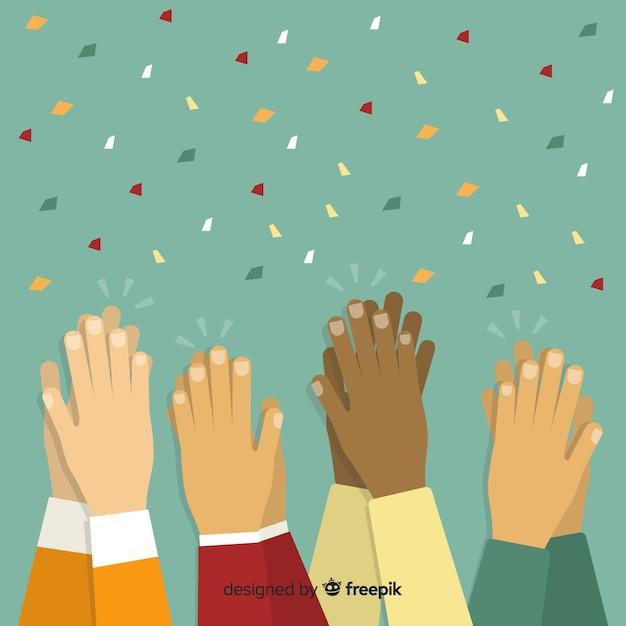 Platte kleurrijke handen applaudisseren Gratis Vector