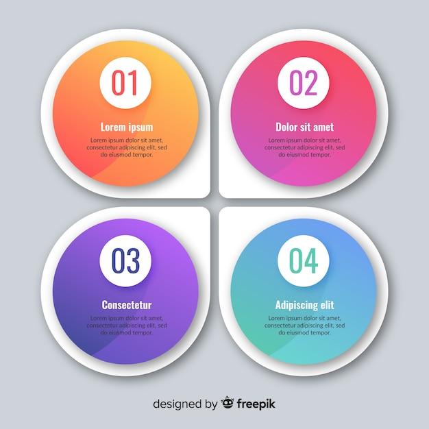 Platte kleurrijke infographic achtergrond Gratis Vector