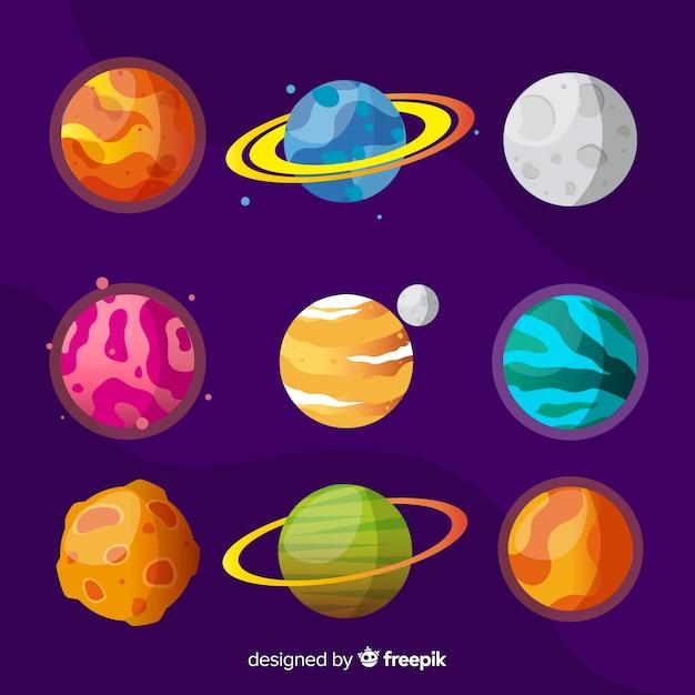 Platte kleurrijke planeet collectie Gratis Vector