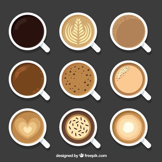 Platte koffiekop met bovenaanzicht Gratis Vector