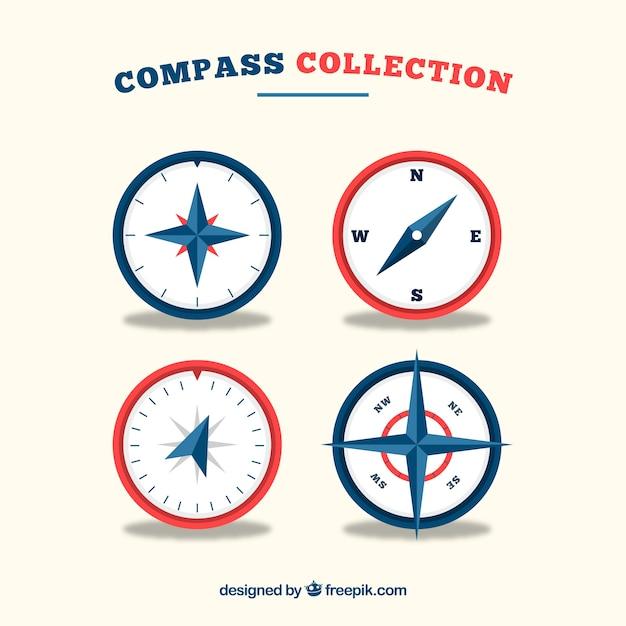 Platte kompascollectie Gratis Vector