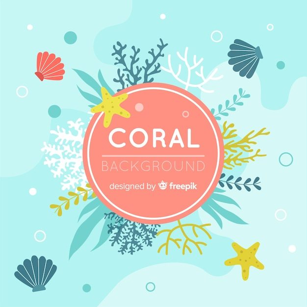 Platte koraal achtergrond Gratis Vector
