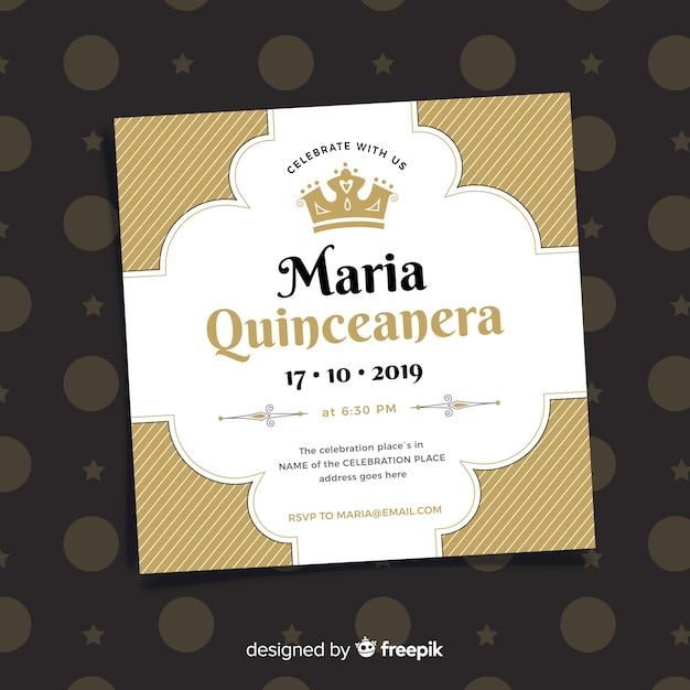 Platte kroon quinceanera feestkaart Gratis Vector
