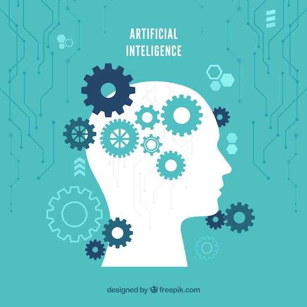 Platte kunstmatige intelligentie achtergrond Gratis Vector