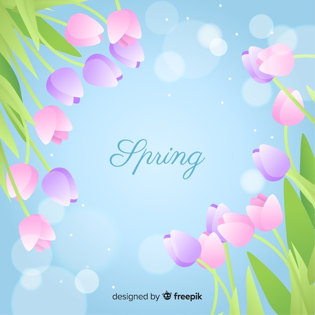Platte lente achtergrond Gratis Vector