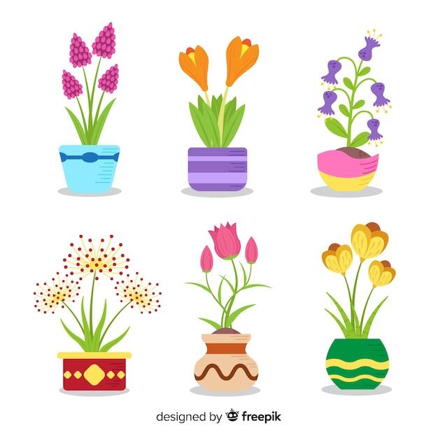 Platte lente bloemen collectie Gratis Vector