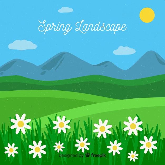 Platte lente landschap-achtergrond Gratis Vector