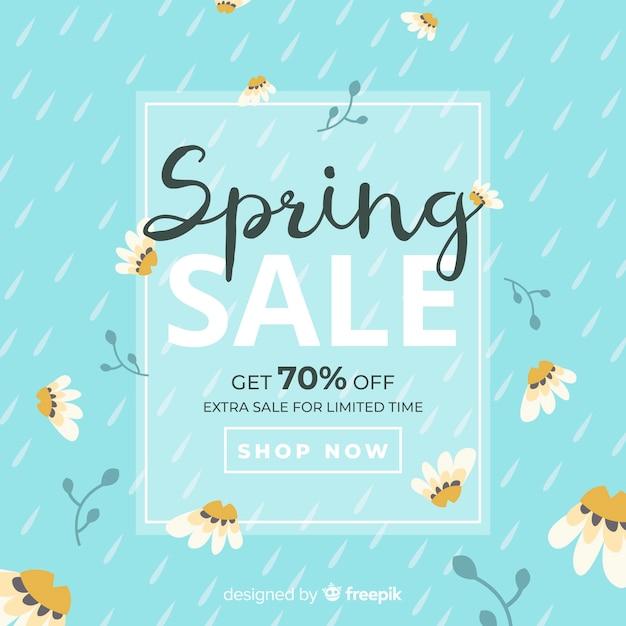 Platte lente verkoop achtergrond Gratis Vector